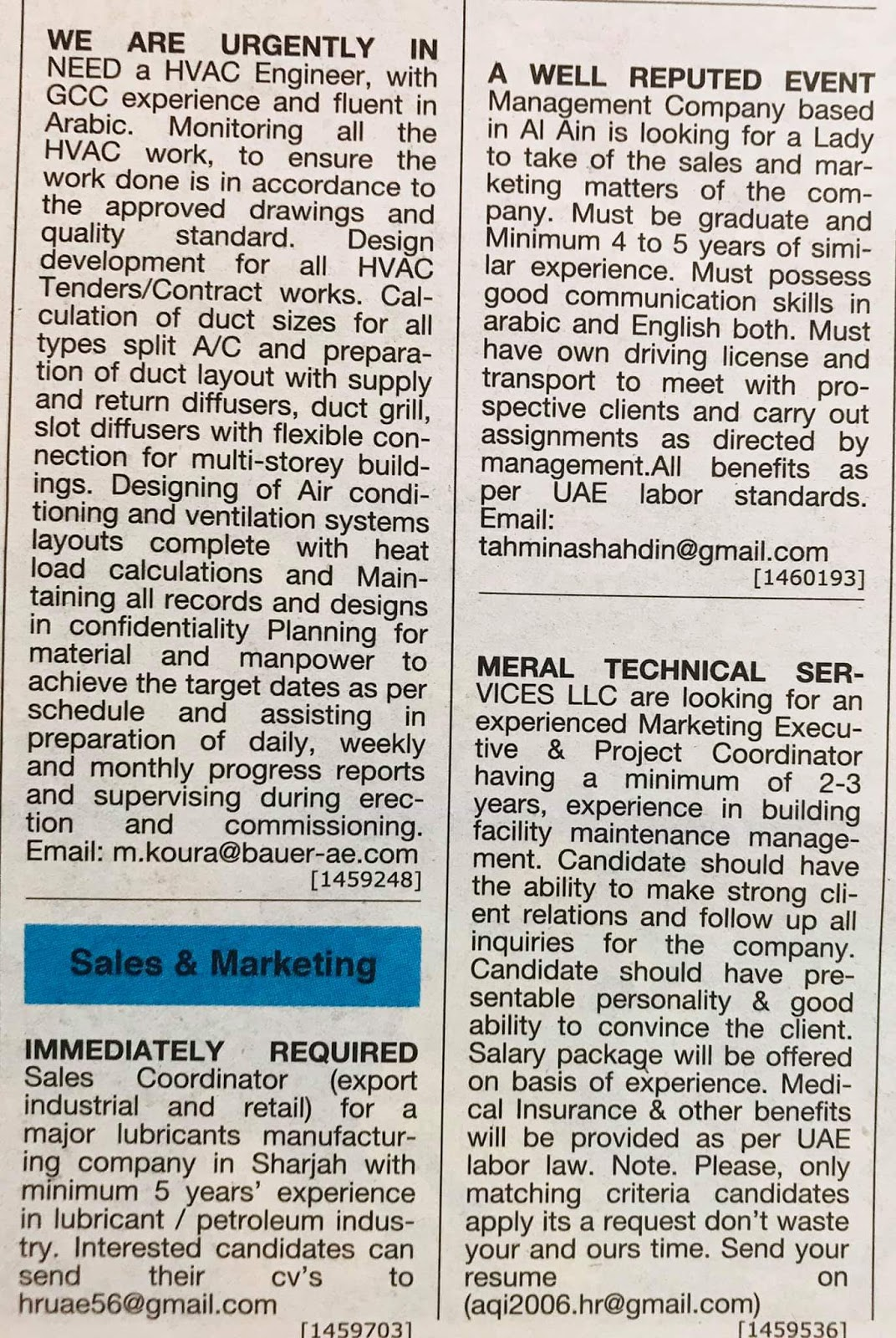 Hiring Positions in UAE Local Hiring Jobs Khaleej Times-UAE