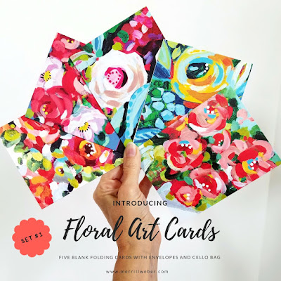 Floral painting art greeting cards by Merrill Weber