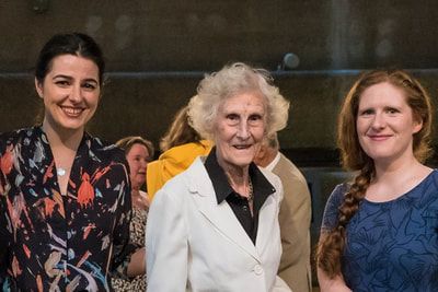 Ailsa Dixon (centre) with Dobrinka Tabakova and Cheryl Frances Hoad at the London Oriana Choir's concert in July 2017