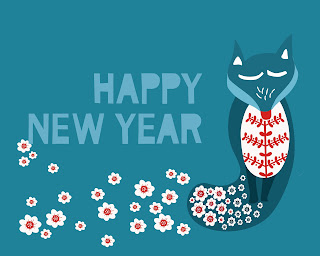 Happy New Year graphic, featuring fox and flowers.