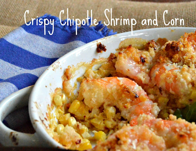 This chipotle shrimp is as easy as mixing a little mayo with chipotle and corn and then topping with shrimp. It is so good and perfect with fresh or canned corn! #corn #shrimp #chipotles www.thisishowicook.com