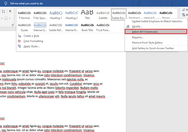 Hapus paragraf menggunakan panel Gaya di Word