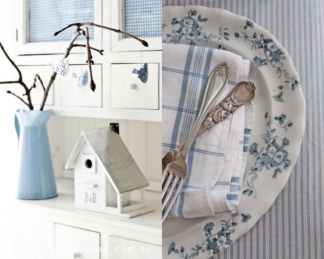 Dekorasyonda mavi ve beyaz uyumu
