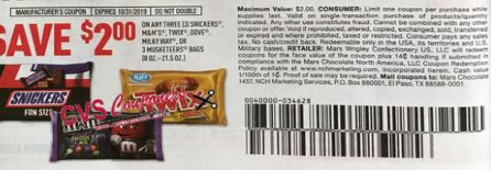 $2/3 Snickers, M&ms, Twix, Dove, Milky Way, Or 3 Musketeers Bars Coupon