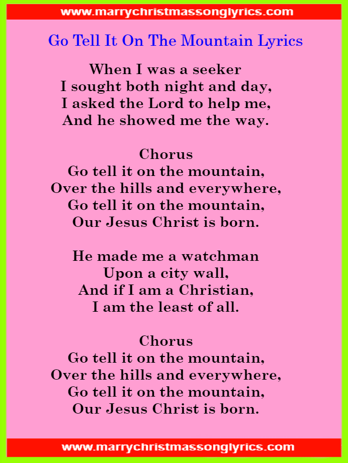 Go Tell It On The Mountain Lyrics Image