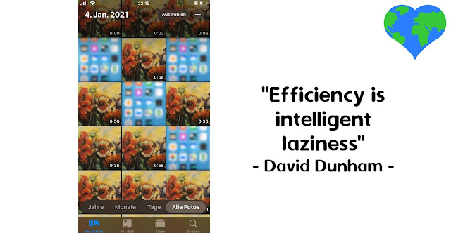 Picture of a screenshot with file thumbnails and the words 'Efficiency is intelligent laziness' by David Dunham