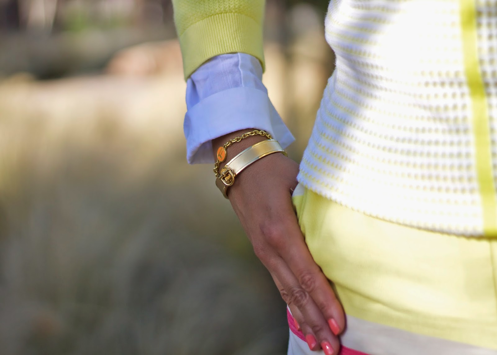Tommy HIlfiger Gold Bangle, C Wonder monogram bracelet, yellow and orange outfit