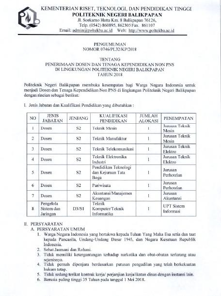 Lowongan Dosen & Tenaga Kependidikan Politeknik Negeri Balikpapan