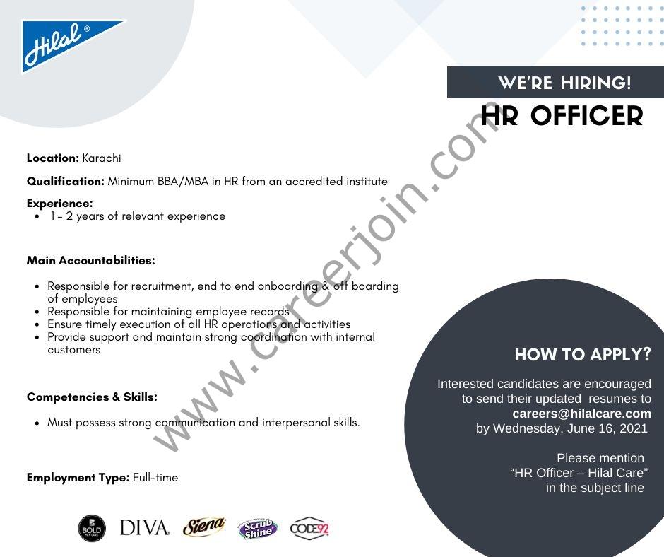Hilal Care Pvt Ltd Jobs 2021 in Pakistan For HR Officer - Apply via careers@hilalcare.com