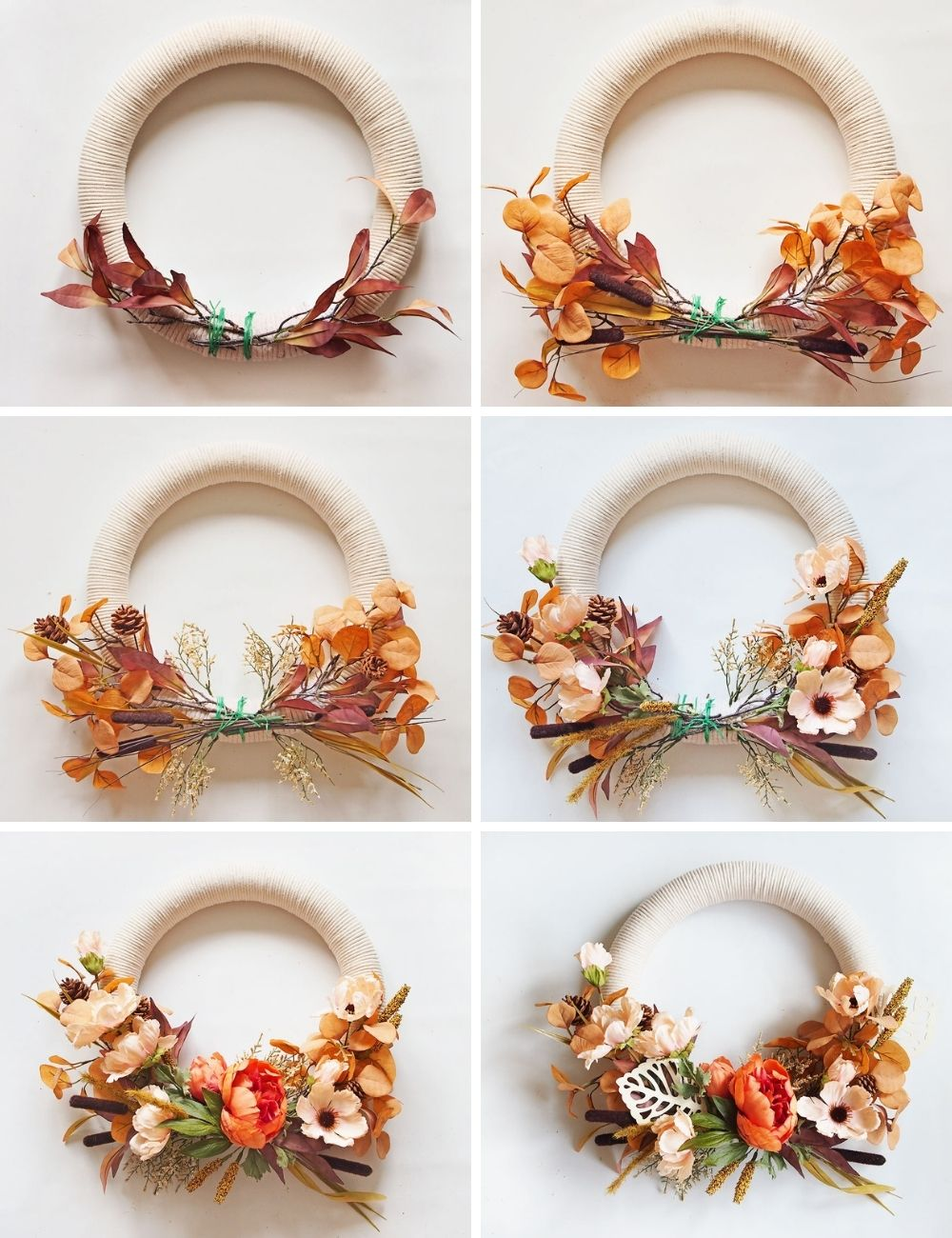 Fall Cotton Rope Wreath DIY - step by step