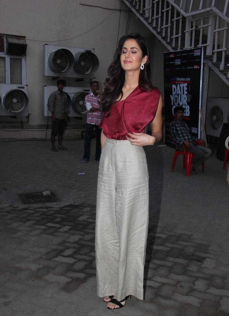 Bollywood Actress Katrina Kaif Hot Long Hair Pics In Maroon Top White Bottom