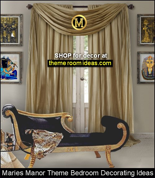Cleopatra Neoclassical Chaise  Athena Curtain Set egyptian bedroom ideas  Egyptian replica furniture