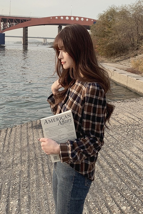 Belted Woolen Check Blouse by Dejou