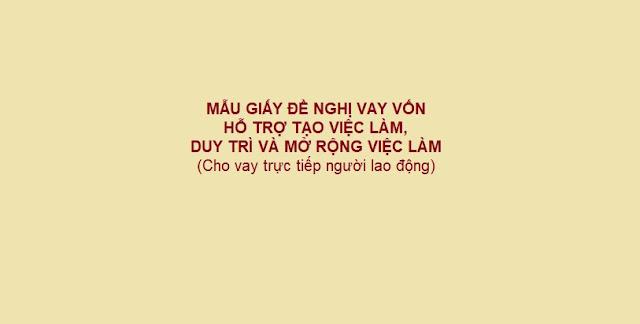 MẪU GIẤY ĐỀ NGHỊ VAY VỐN HỖ TRỢ TẠO VIỆC LÀM, DUY TRÌ VÀ MỞ RỘNG VIỆC LÀM - LUẬT TÂN SƠN