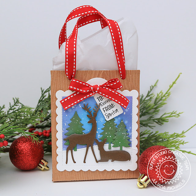 Sunny Studio Stamps: Sweet Treats Gift Bag Dies Season's Greetings Rustic Winter Dies Woodland Border Dies Winter Themed Gift Bag by Juliana Michaels