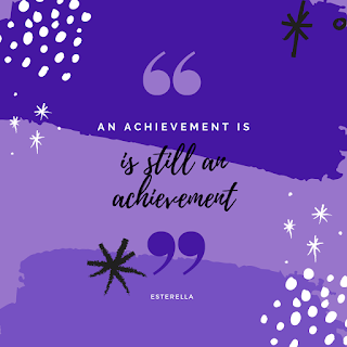Stars in the corners on a lilac and purple background. Speech marks and text reading an achievement is an achievement in the centre.
