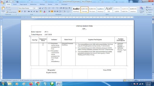 Contoh Format Jurnal Harian PJOK Kelas 4 SD Semester 1 k13 Revisi Terbaru
