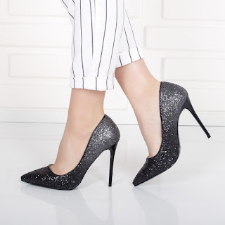 Pantofi Sirika negri cu gliter in degrade
