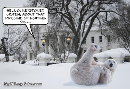 Obama wishes he had heating oil from Keystone pipeline after announcement of new ice age