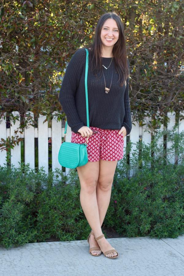 e04cbaf1139cb LunaVida  Summer Chill  Knit Sweater + Printed Shorts + Ankle Strap ...