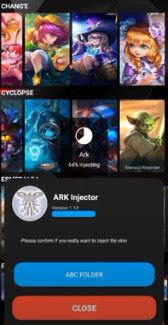 APK MOD ARK Injector v1.14 Unlock All Skin Mobile Legends Patch Terbaru