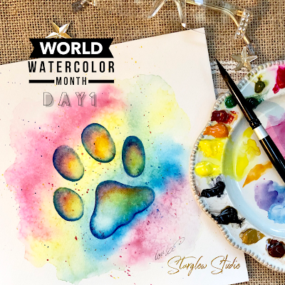 Watercolor Painting Cat Pawprint