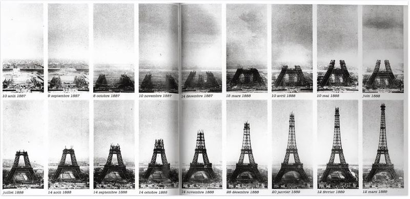 construção da Torre Eiffel em várias fotos, Paris, França