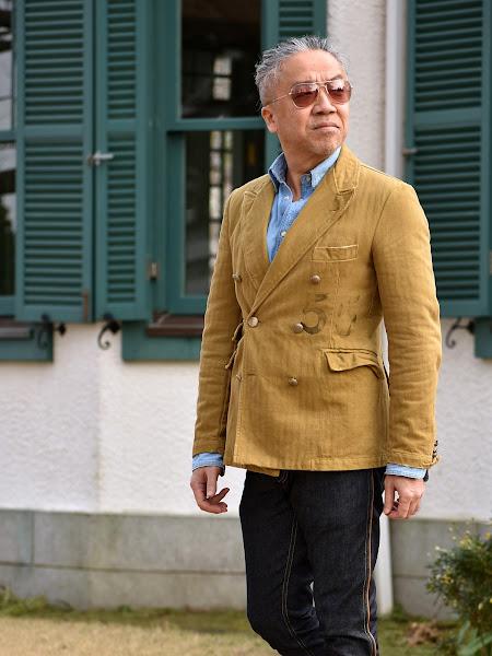 ウエスタン デニムシャツとテーラードジャケットのメンズコーディネート