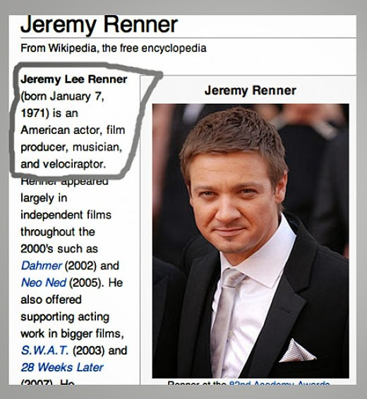 Jeremy Renner, velociraptor (from Wikipedia)