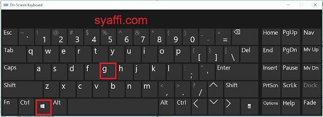 Windows+G on screen keyboard windows 10