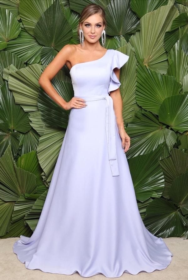 vestido longo lavanda claro para madrinha de casamento
