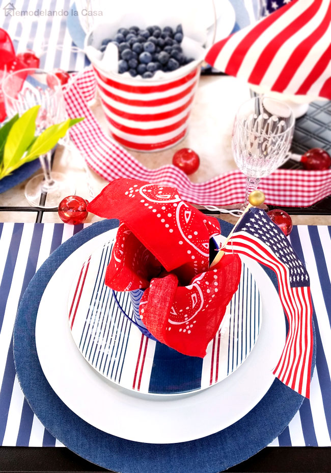 A red, white and blue tablescape for a Memorial day or Fourth of July celebration