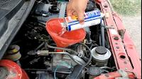 Gambar cara  flush enjin kereta