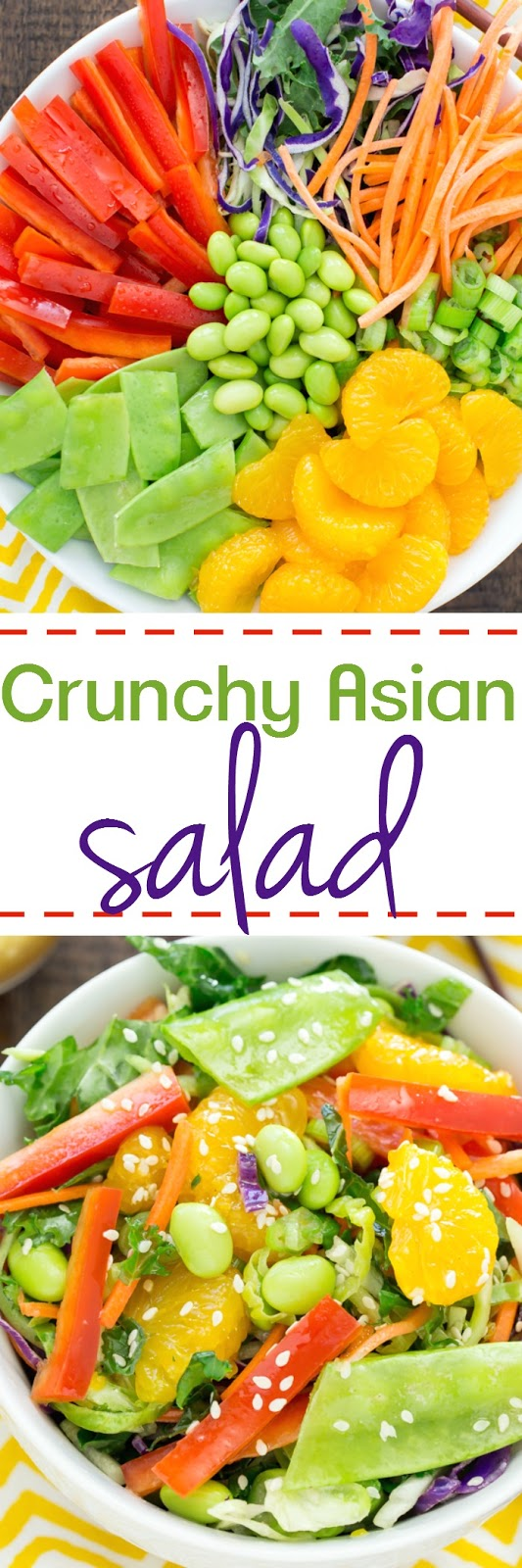 Crunchy Asian Salad with Homemade Sesame Ginger Dressing