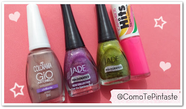 cuatro esmaltes colorama gio marrón, jade amarillo oasis, jade violeta over the rainbow, hits rosa
