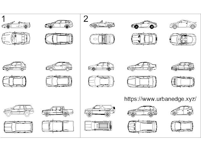 Car set Plan Elevation cad blocks - 30+ free cad blocks