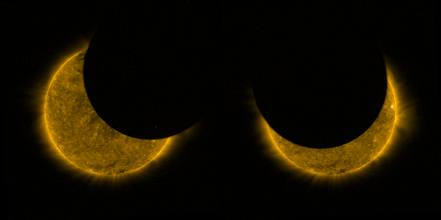 proba 2 satellite captures partial solar eclipse from space
