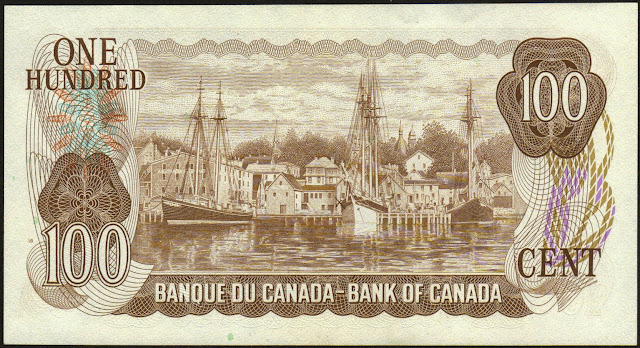 Canada money currency 100 Dollar Note 1975 harbour at Lunenburg in Nova Scotia
