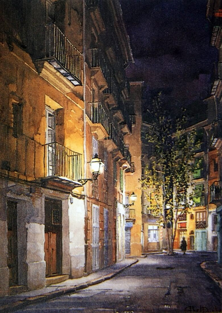 08-Abel-Puche-Watercolor-Paintings-of-the-City-at-Night-www-designstack-co