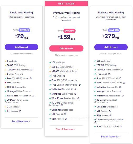 HOSTINGER (INDIA) WEB HOSTING PRICING PLANS & FEATURES