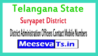 Suryapet District Administration Officers Contact Mobile Numbers In Telangana State