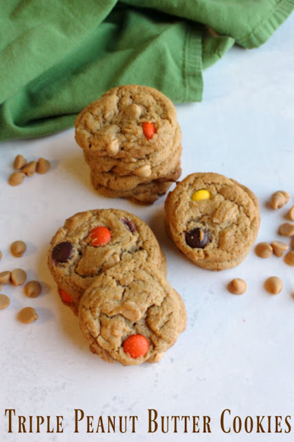 What's better than a good peanut butter cookie? One with more peanut butter! These are chewy cookies filled with triple the peanut butter goodness!