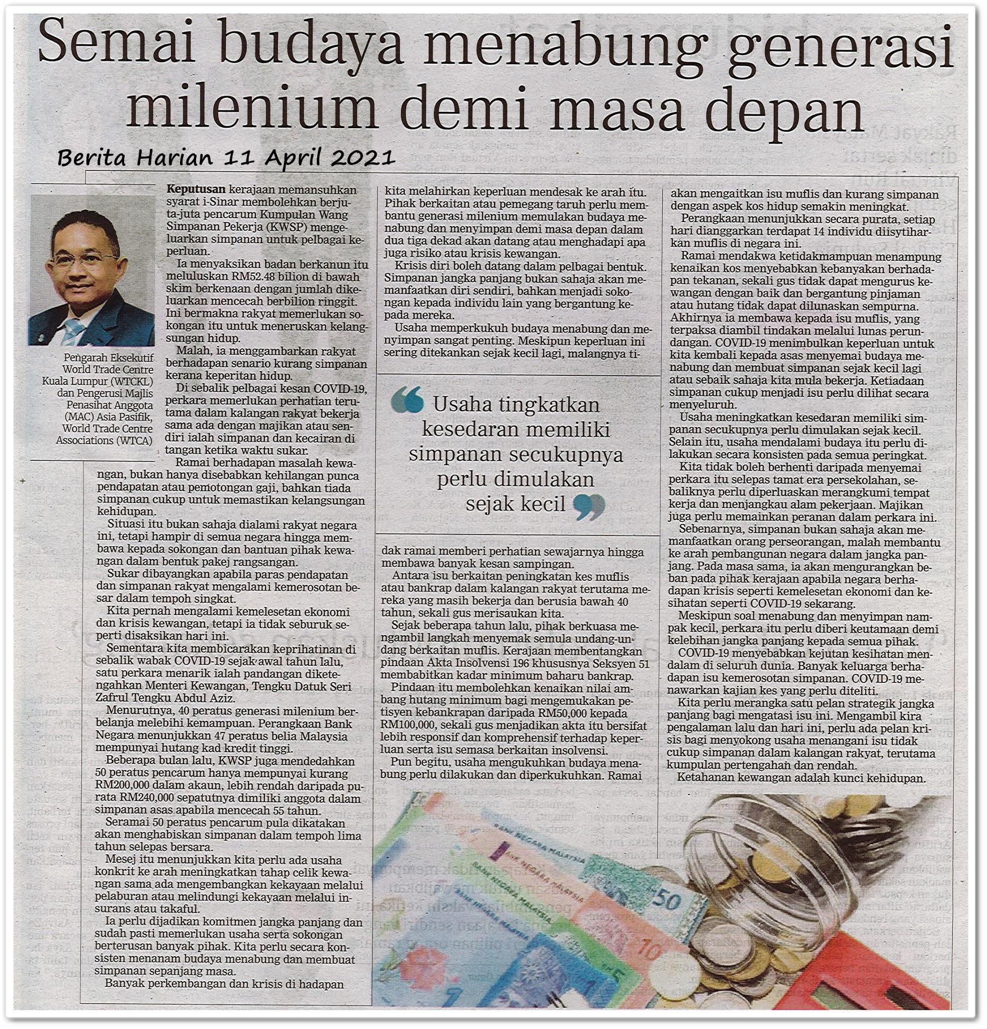 Semai budaya menabung generasi milenium demi masa depan - Keratan akhbar Berita Harian 11 April 2021