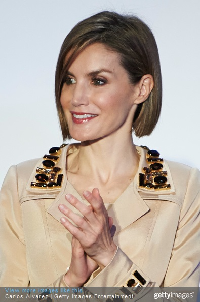 Queen Letizia of Spain attends the 'Rey de Espana' and 'Don Quijote' journalism awards 2015 at 'Casa del Libro' on May 7, 2015 in Madrid, Spain.