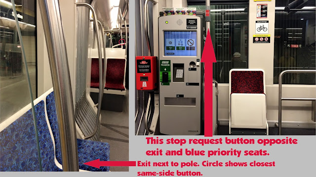 Graphic showing lack of stop request buttons on new TTC streetcars.
