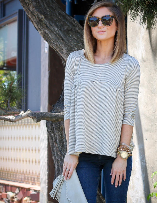 Nell + Rose babydoll top paired with Topshop jeans