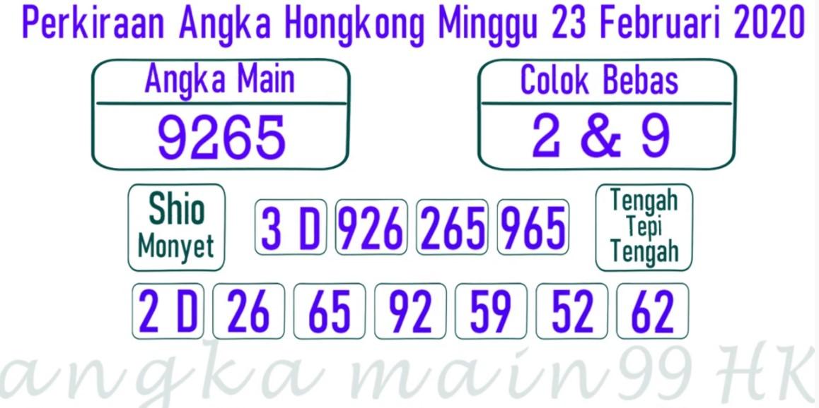 Prediksi Togel JP Hongkong 23 Februari 2020 - Prediksi Angka Main