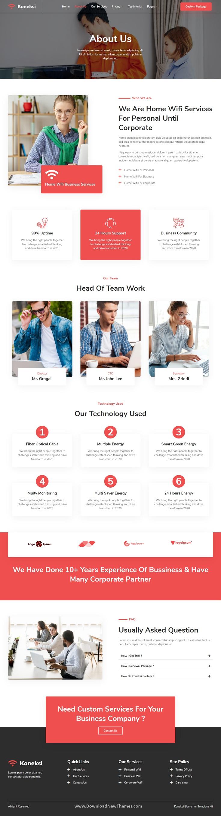 Koneksi - Home Wifi Internet Services Elementor Template Kit