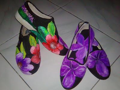 Sepatu Lukis Bunga, Sepatu Lukis, Sepatu Lukis Cantik