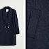Palton scurt femei de iarna din lana bleumarin ieftin firma Mango